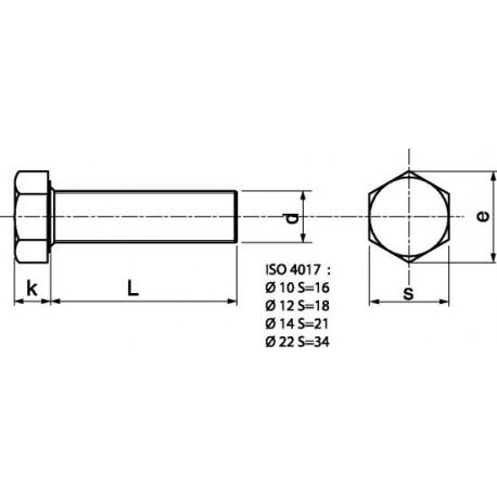 Parafuso Sextavado em aço 8,8 HDG - DIN 933 - ISO 4017