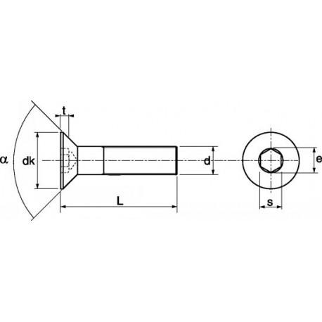 Parafuso cabeça chata sext. int. (8,8 zincado) - DIN 7991 - ISO 10642