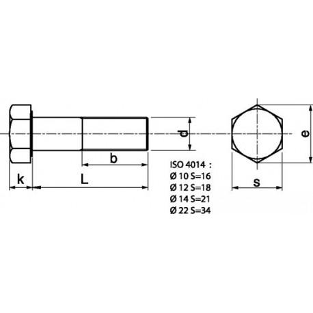 Parafuso Sextavado Parcial em aço 8,8 zincado - DIN 931 - ISO 4014