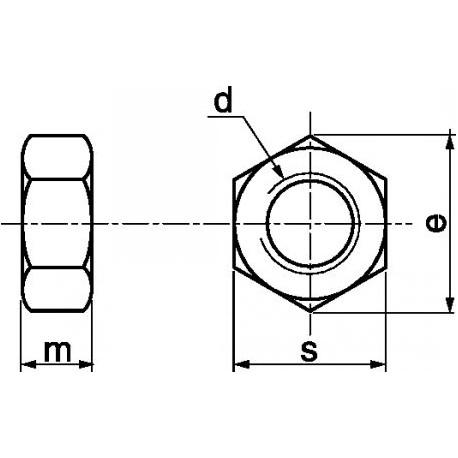 Porca sextavada (C.10 zincado) - DIN 934 - ISO 4032
