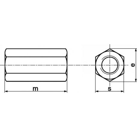 União sextavada (Inox A2) - DIN 6334