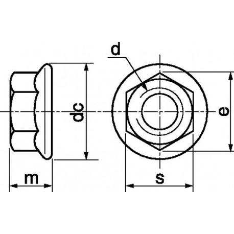 Porca com falange (Inox A2) - DIN 6923 - ISO 4161