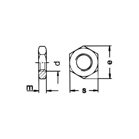 Porca sextavada baixa (Inox A2) - DIN 936 - ISO 8675