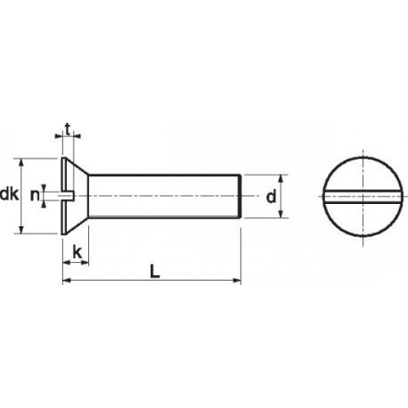 Parafuso cabeça chata fenda (Nylon 6.6) - DIN 963 - ISO 2009