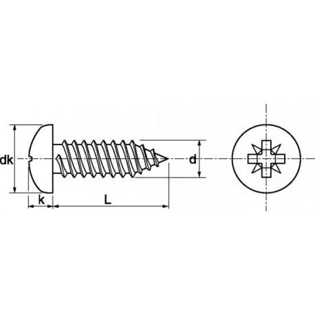 Parafuso auto-roscante aço - DIN 7981 - ISO 7049
