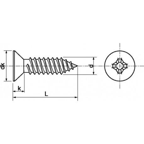 Parafuso auto-roscante aço - DIN 7982 - ISO 7050